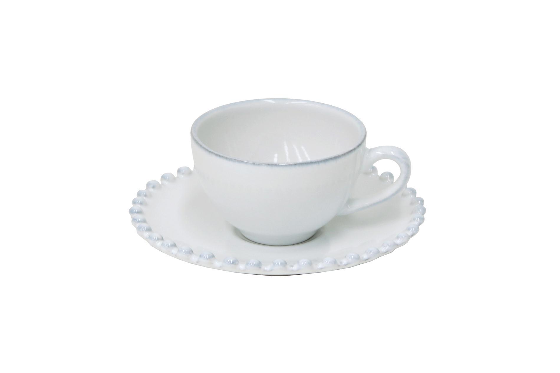 Gedeck Espressotasse und Untertasse Pearl weiß, 0,08 l