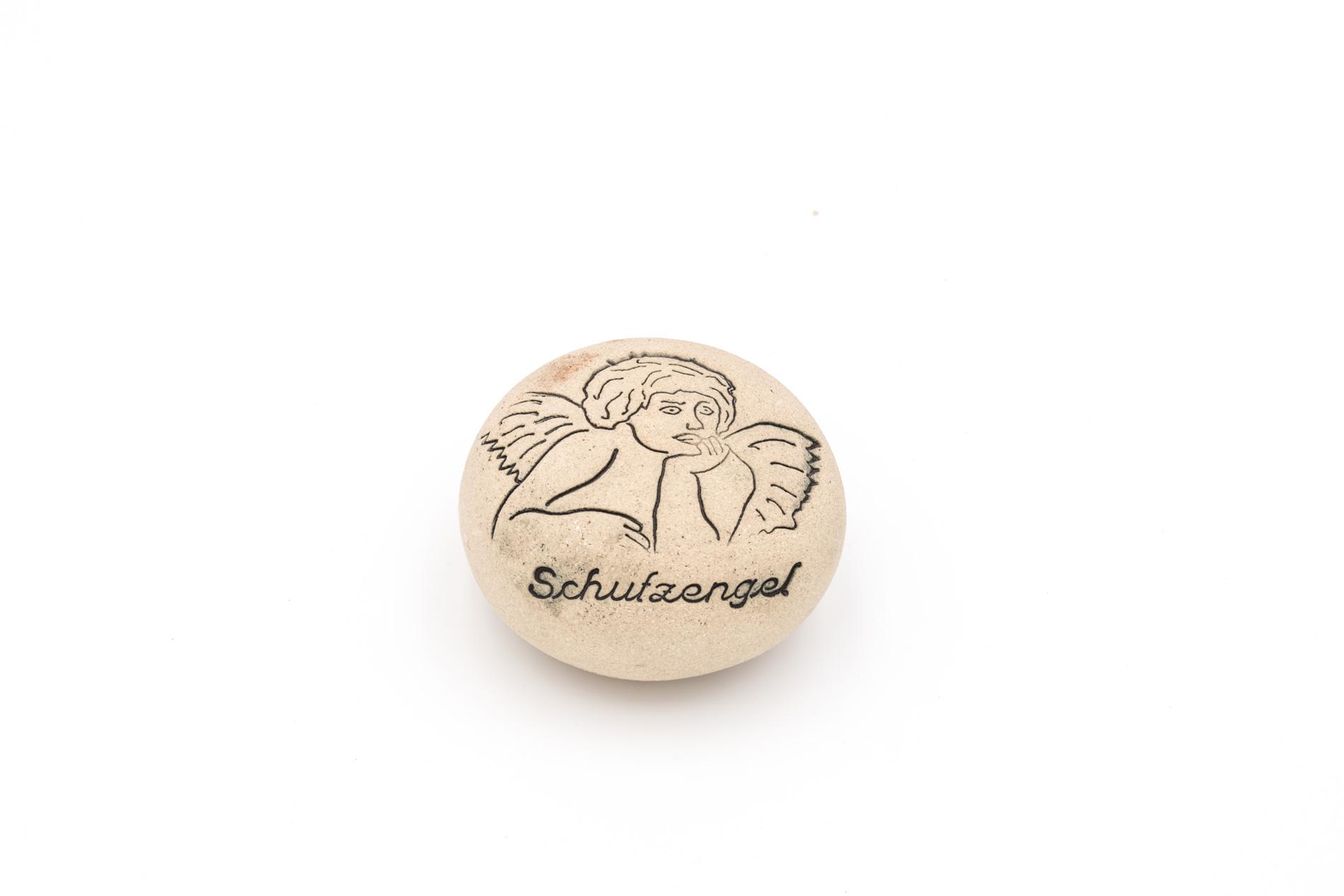 """Spruchstein """"Schutzengel"""", frostbeständige Keramik, D ca. 8 cm"""