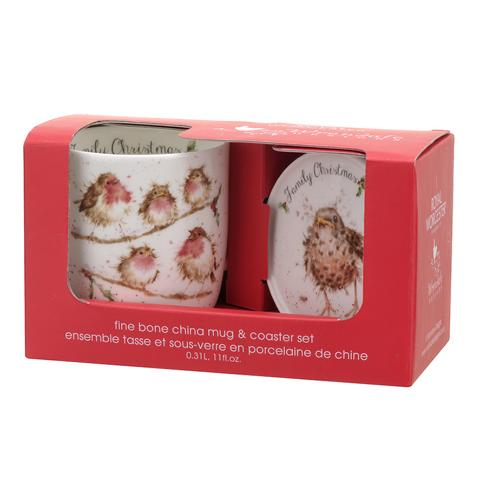 """Wrendale Becher Weihnachten mit Untersetzer """" Family Christmas """" Motiv weihnachtliche Vogelfamilie , in Geschenkverpackung , 18,5 x 9 x11 cm"""