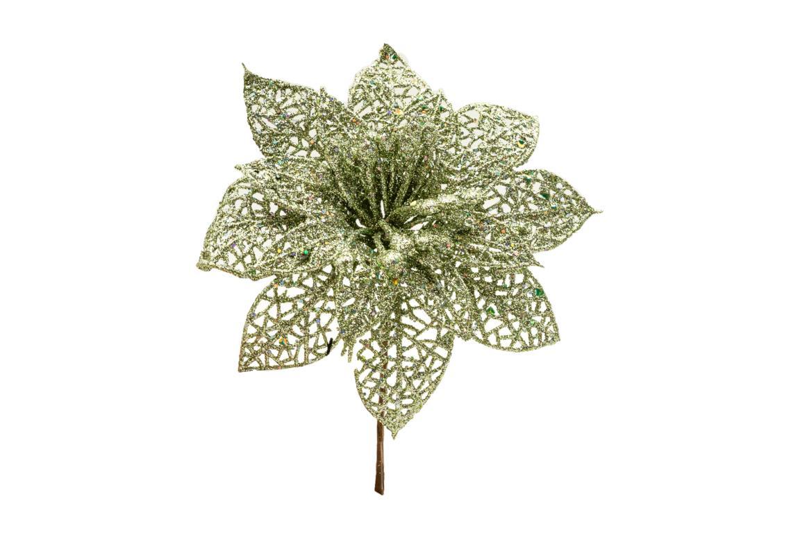 Colmore Dekoblüte, grün Glitzer, D 14cm