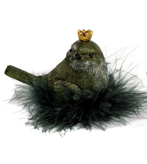 Kleiner Vogel mit Krone, grüngrau, sitzt im Federnest, 9x4,5x7 cm