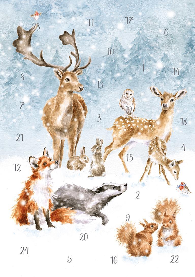 Wrendale Bilder-Adventskalender, Motiv Waldtiere im Schnee, Din A4