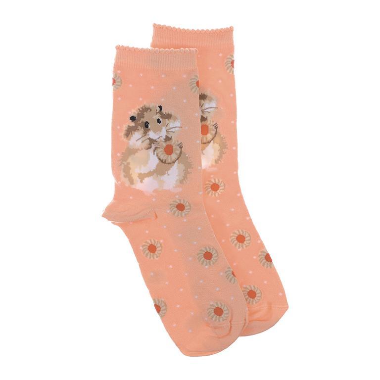 """Wrendale Socken """"The Diet starts tomorrow"""", Motiv Hamster isst Keks, Orange mit weißen Punkten, aus Super Soft Bambus, Einheitsgröße, mit Geschenktasche"""