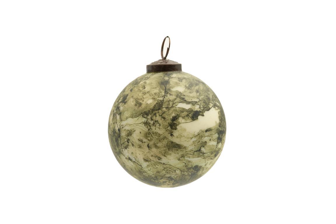 Colmore Christbaumkugel, Glas, grün/creme marmoriert, Antike Optik, D 10cm