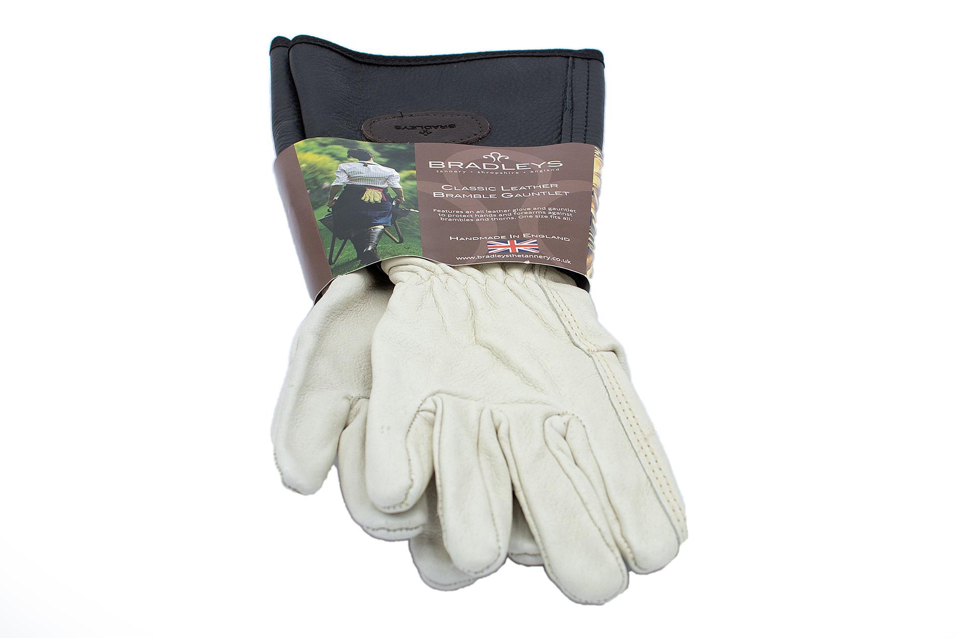BRADLEYS Handschuhe mit Unterarmschaft, Gr. S, Glattleder schwarz/beige