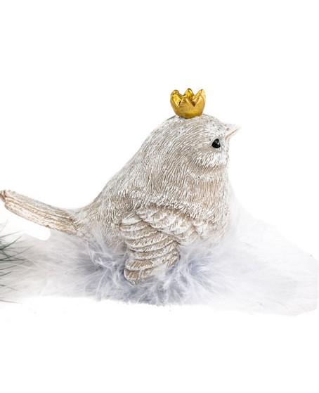 Kleiner Vogel mit Krone, hellgrau meliert ,sitzt im Federnest, 9x4,5x7 cm