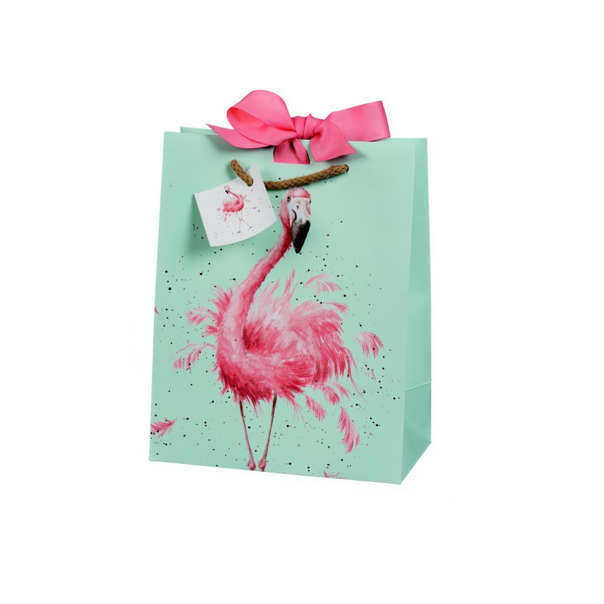 Wrendale Geschenktüte, Motiv Flamingo, mint, 22,5x18 cm