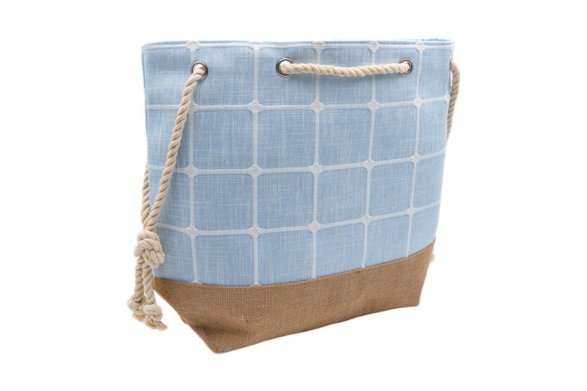 Strandtasche/Shopper, aus Stoff, Kordel Tragegriff, natur/hellblau, ca. 55x38x15cm