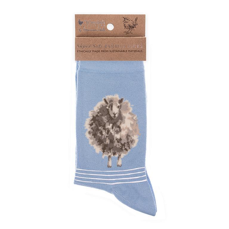 """Wrendale Socken """"Woolly Jumper"""", Motiv Schaaf, blau/weiß gestreift, aus Super Soft Bambus, Einheitsgröße, mit Geschenktasche"""