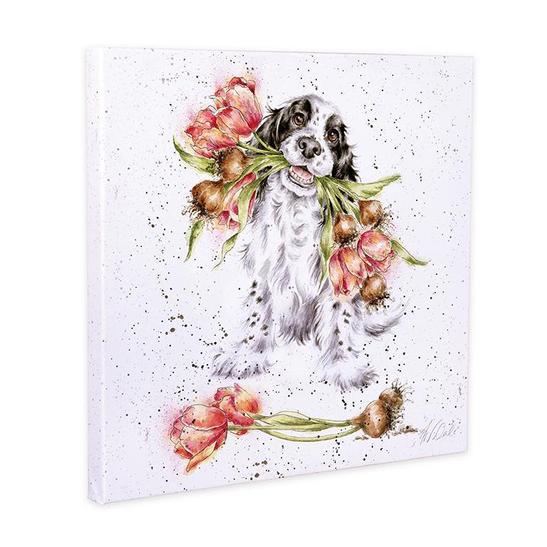 """Wrendale Leinwand groß, Aufdruck Hund mit Tulpen, """"Blooming with Love"""", 80x80 cm"""