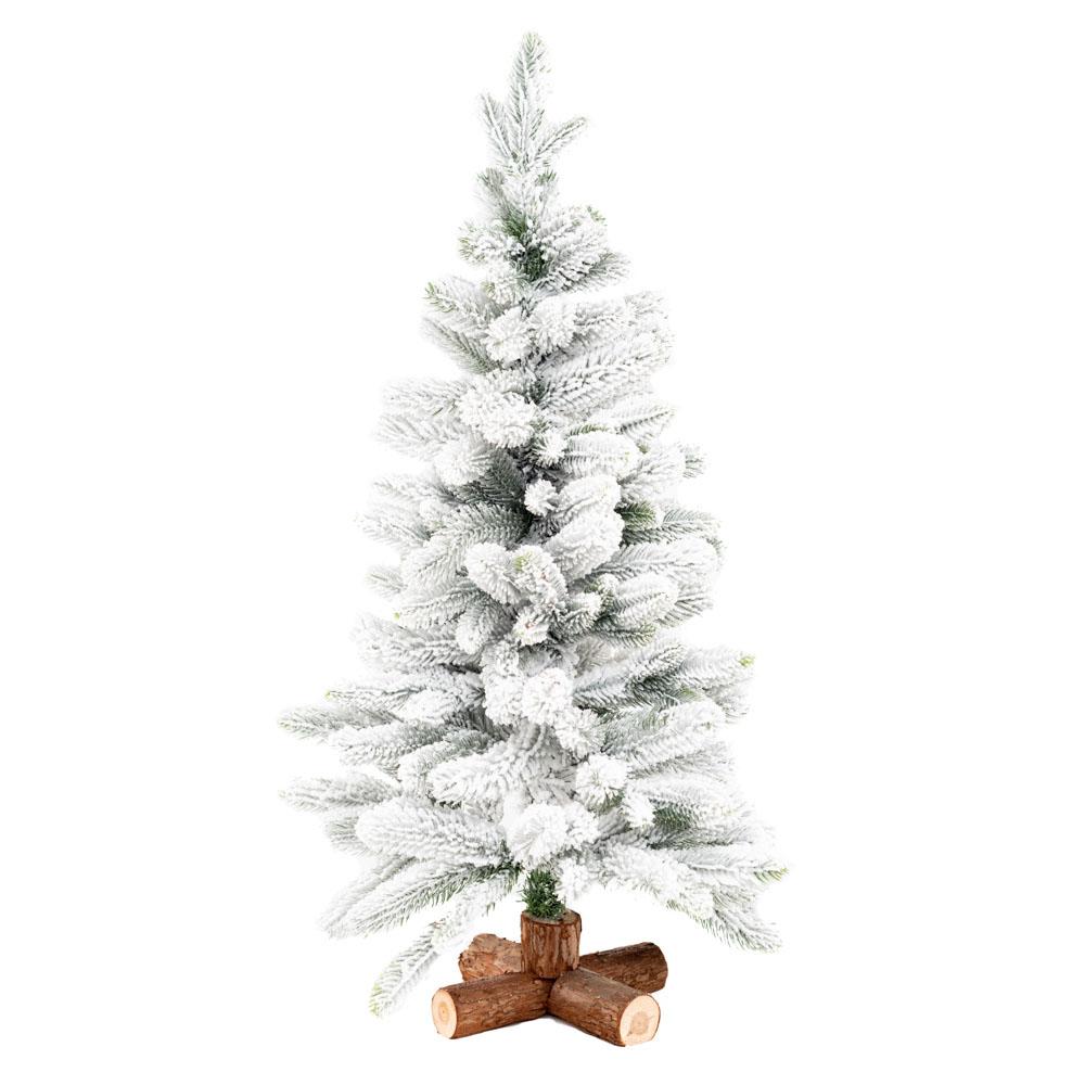 Tanne mit Schnee, auf Holzfuss, 35x90cm