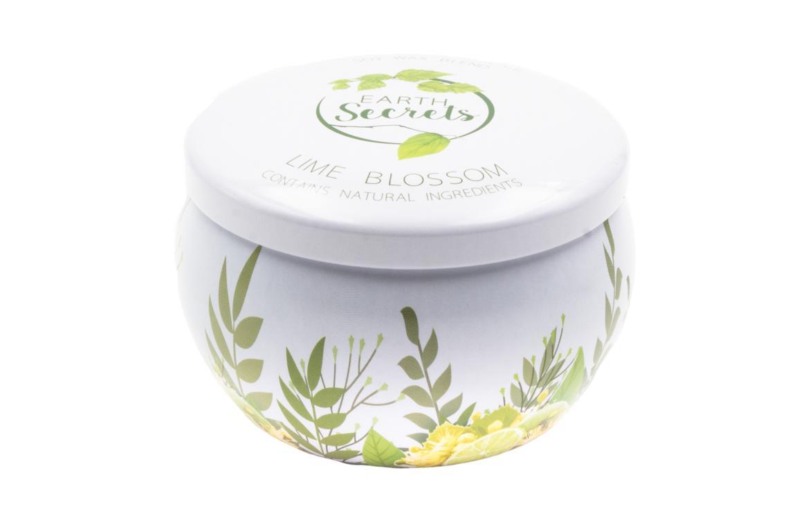 Ashleigh& Burwood  Earth Secrets Duftkerze in Dose mit Deckel, Lime Blossom, Lindenblüte, 140 gr, 25 Std. Brenndauer