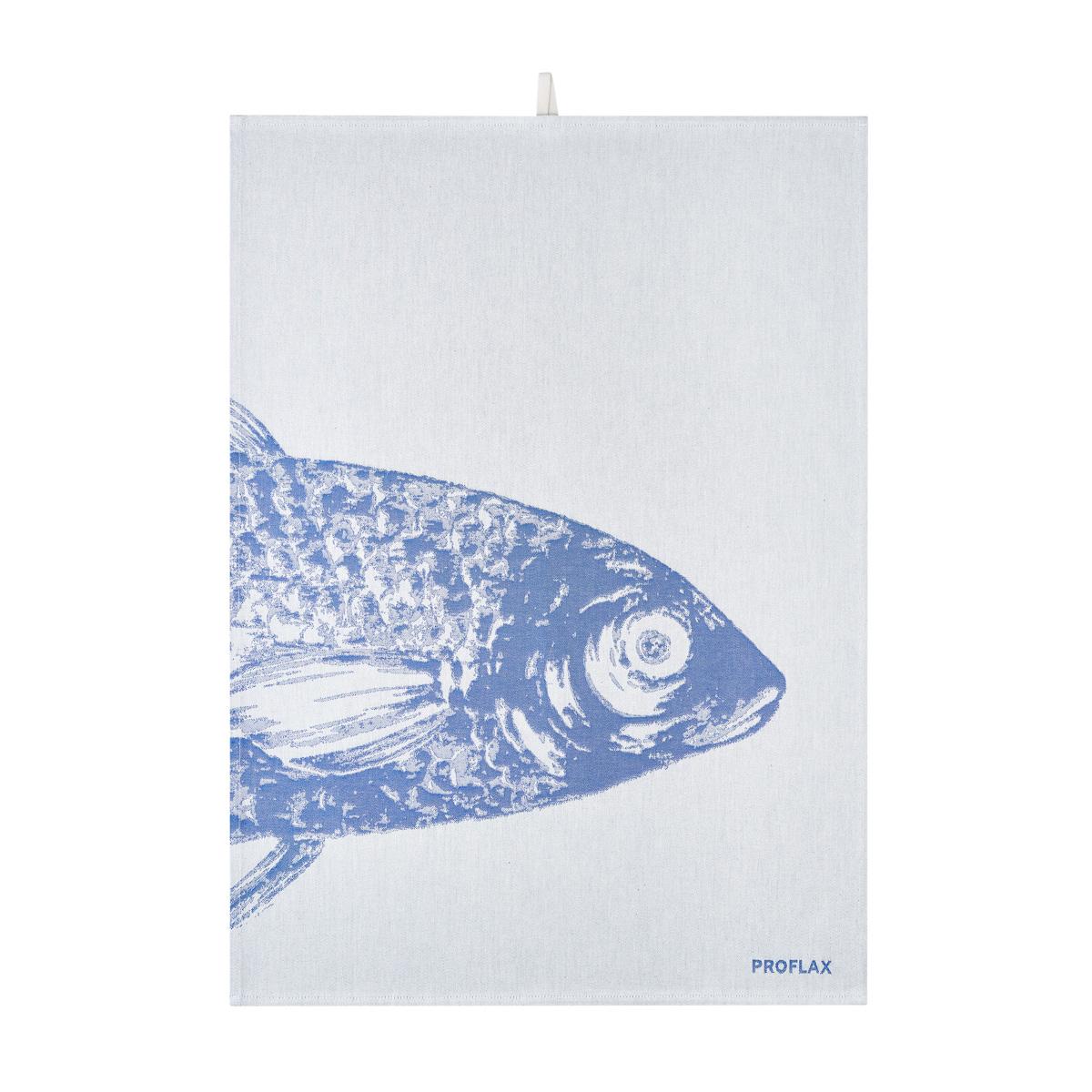 PROFLAX Geschirrtuch, 2er Set, Motiv Fische blau/grau, 50x70cm, 100% Baumwolle
