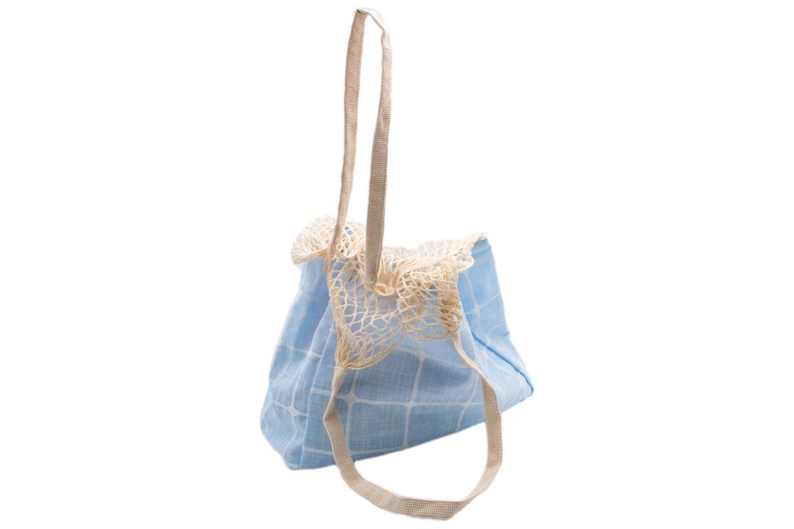Beuteltasche/Strandbeutel, aus Stoff, obere Hälfte Netz, natur/hellblau, 40x30cm