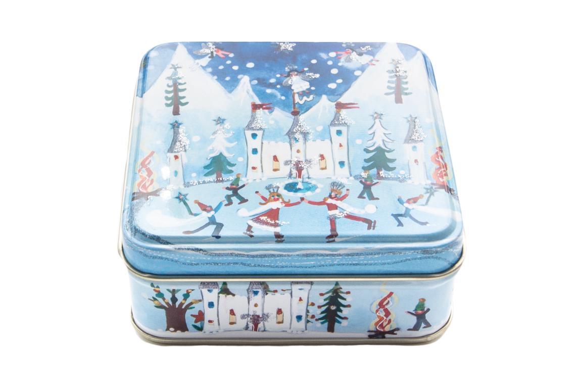 Lucy Loveheart kleine Blechdose, Motiv Schloß im Schnee Hofstaat läuft Eis, mit Glitzerverzierung, 9x9x3,5 cm