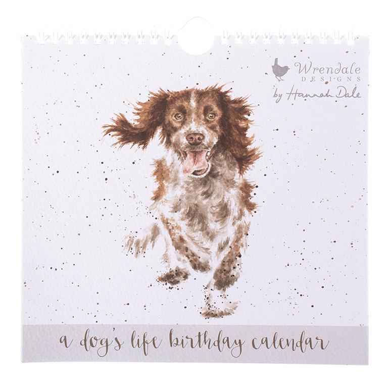 Wrendale Geburtstagskalender, Motiv Hund, immerwährendes Kalendarium, 21x20cm