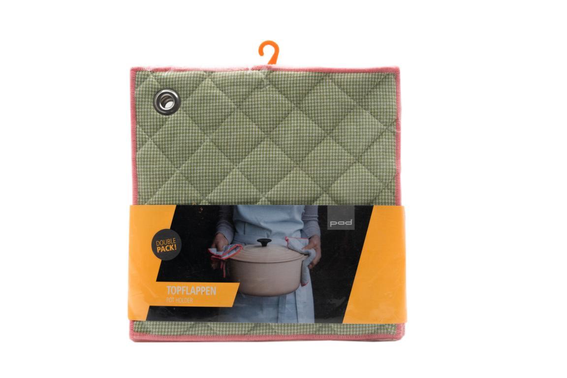 pad Topflappen Casa, 2er Pack, grün, 22x22 cm