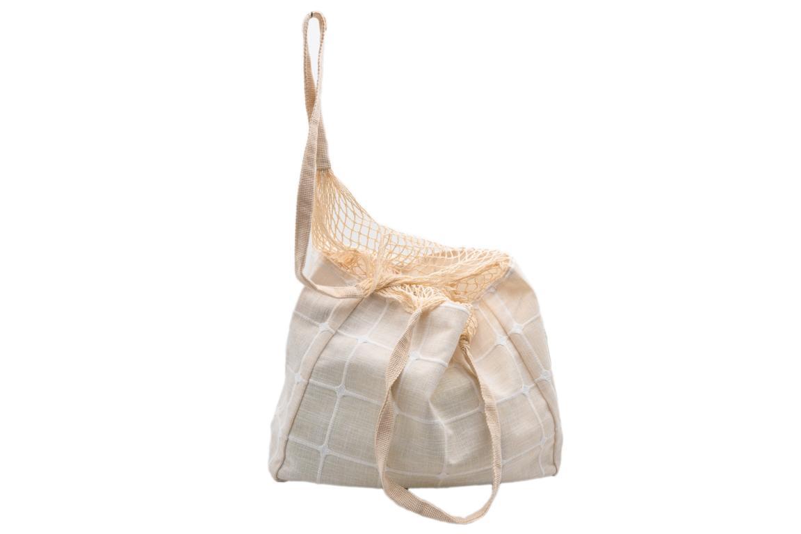 Beuteltasche/Strandbeutel, aus Stoff, obere Hälfte Netz, natur, 40x30cm