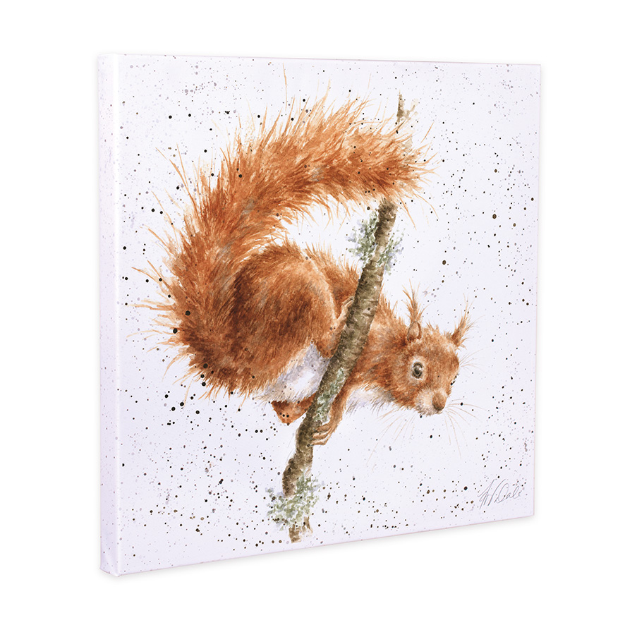"""Wrendale Leinwand klein, Aufdruck Eichhörnchen klettert, """"The Acrobat"""",  20x20 cm"""