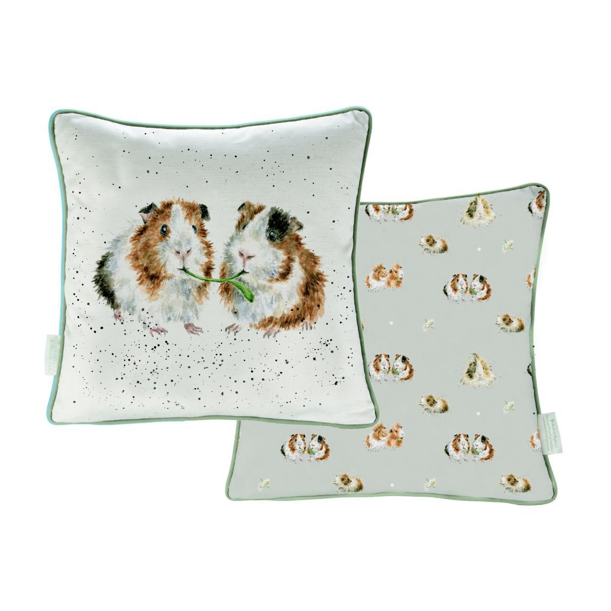 Wrendale Kissen inkl. Füllung, Motiv Meerschweinchen, 40x40 cm