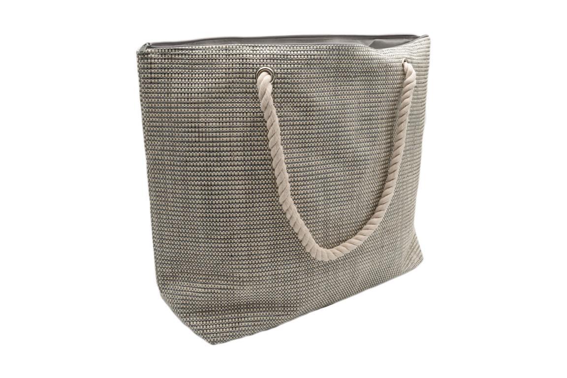 Strandtasche in Weboptik, Grau mit Silber, Kordel als Tragegriff