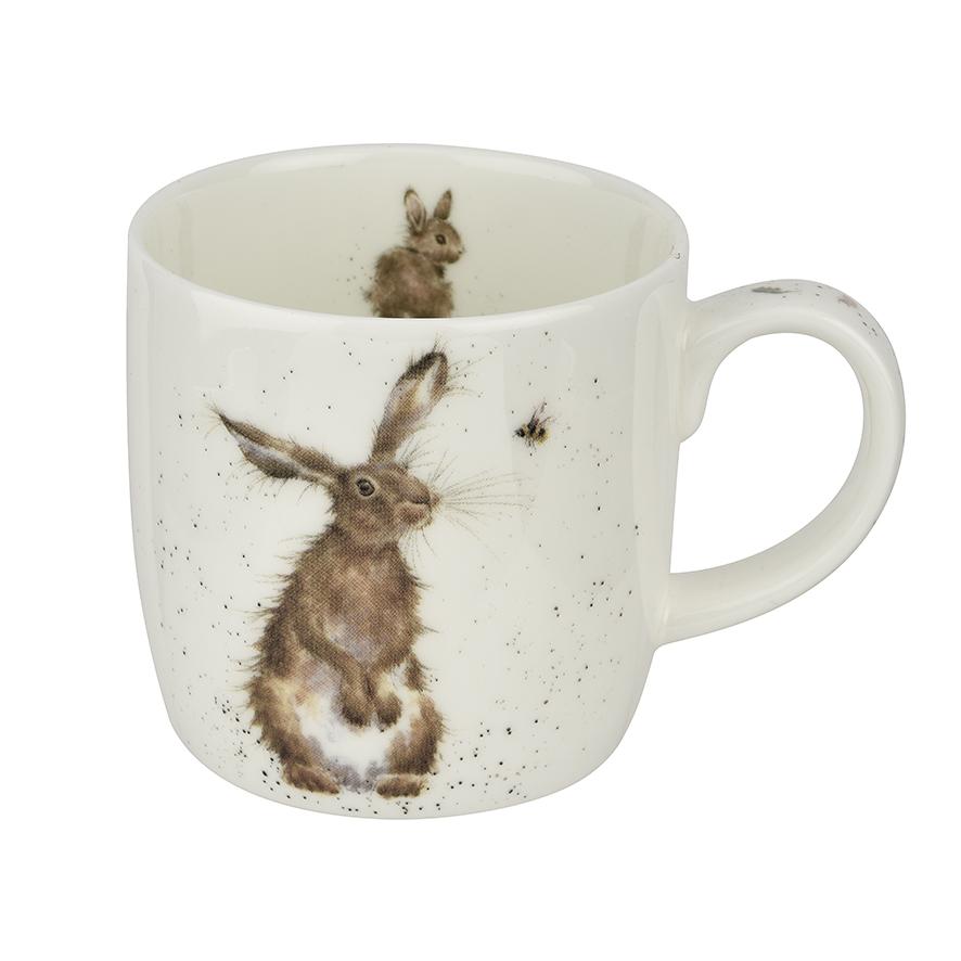 """Wrendale Becher, """" Hare & Bee """", Motiv vorne Hase und Biene, Motiv hinten Hase, 0,31 L, mit Geschenkverpackung"""