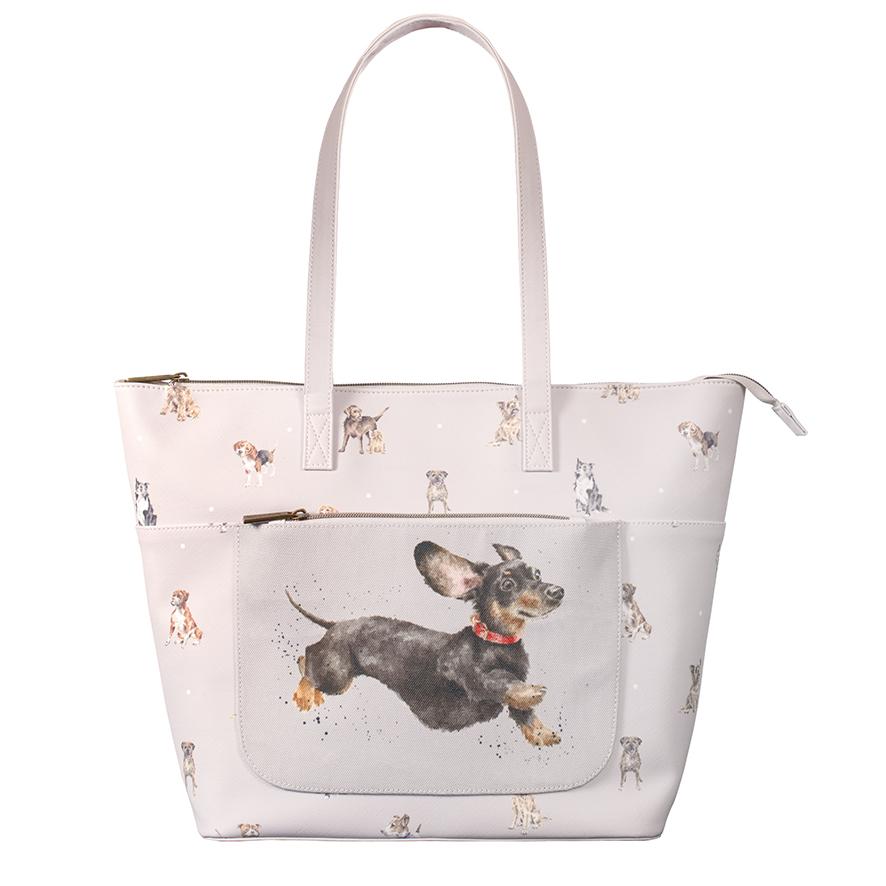 Wrendale Schultertasche/ Shopper aus veganem Lederersatz,  Motiv Hunde, grau, 40x30 cm