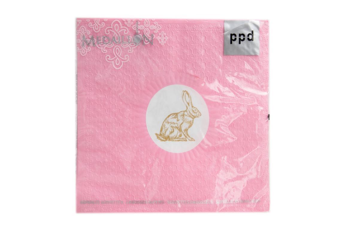 Servietten |  Medaillon Rabbit pink/ Hase mit Prägung pink 33 x 33 cm
