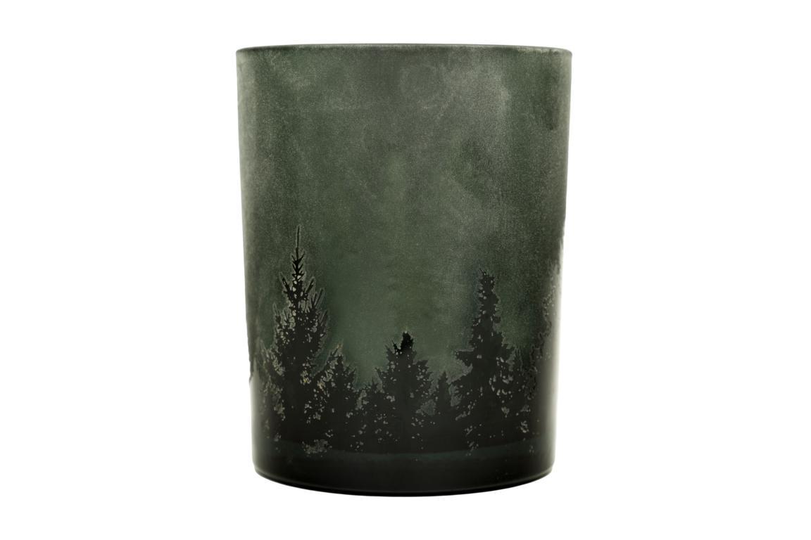 Colmore Teelichtglas mittel, grün/schwarz, Motiv Tannenlandschaft, 10x13cm