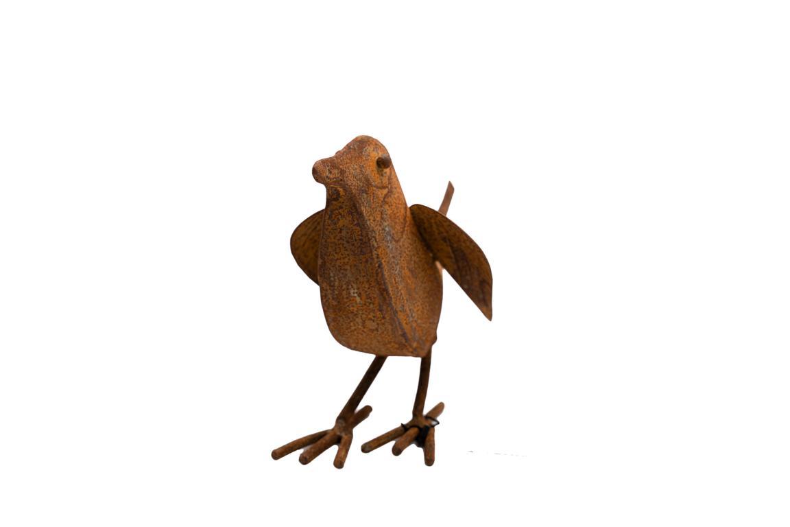 Singvogel, Plastisch, flugbereit, Edelrost, L 18cm x H17cm
