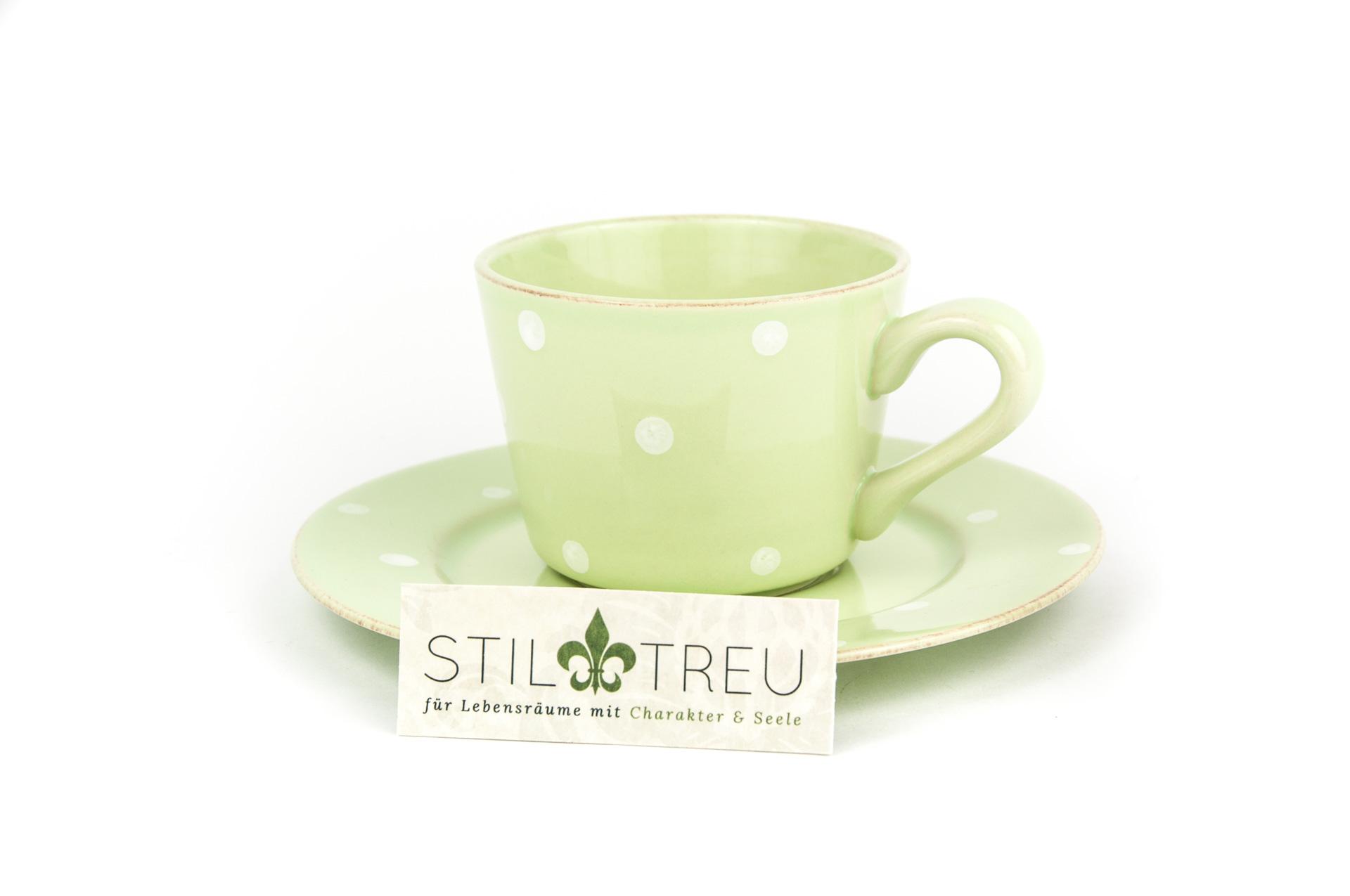 Gedeck / Kaffee / Tee 2-teilig / Ober- und Untertasse Chitra, grün, 0,20 l