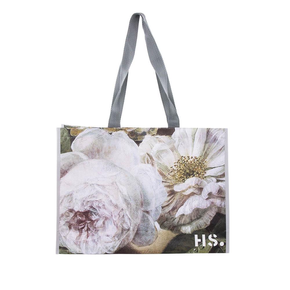 Shopper Tasche aus Kunstoff, Aufdruck Weiße Rose,  46x33x11 cm