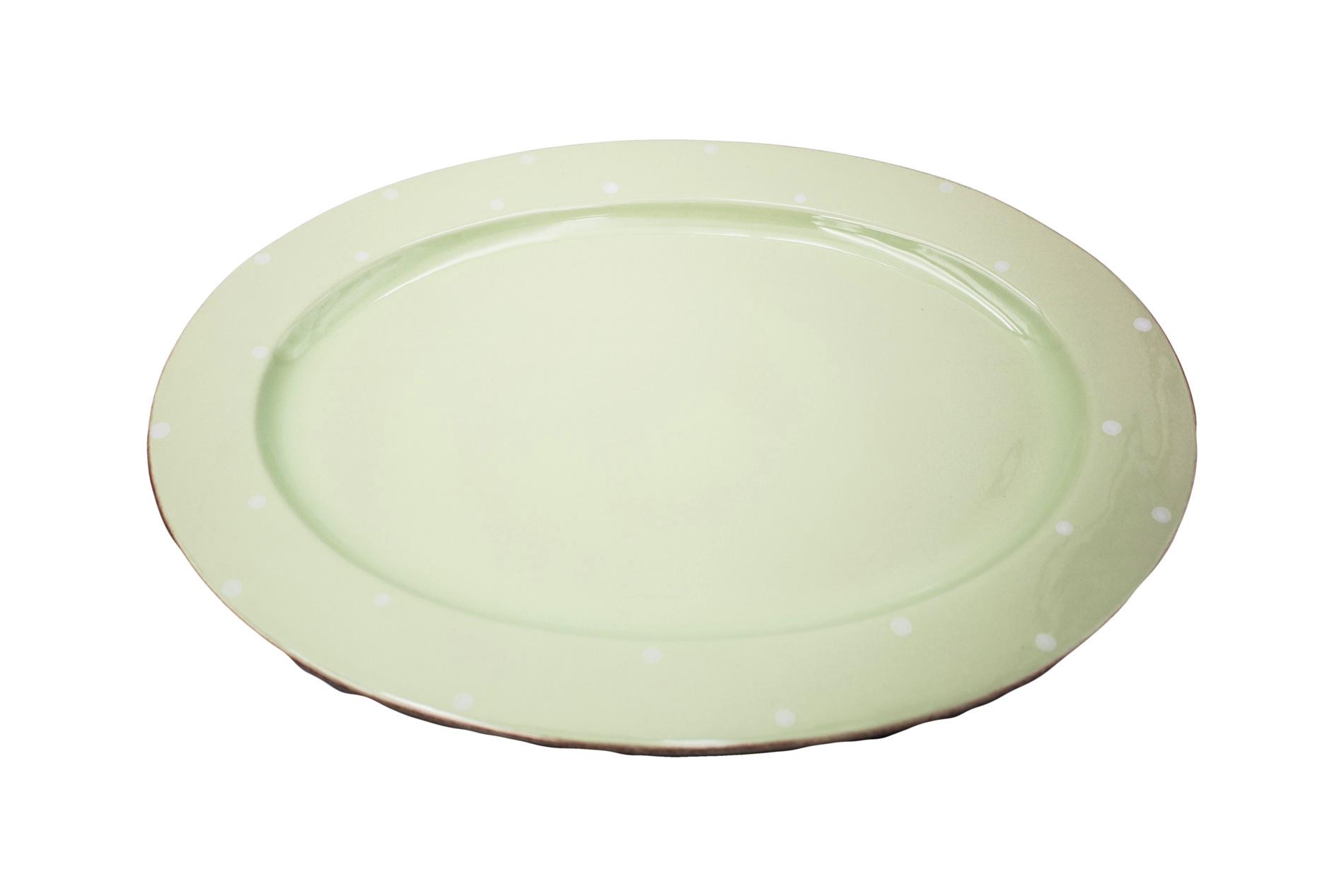 Ovale Platte Chitra, grün, 43 cm