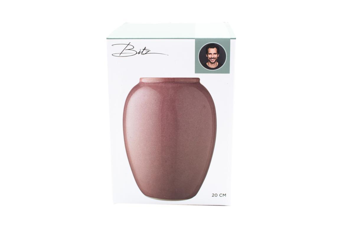 Bitz Vase , Steingut in Rose, 20cm hoch
