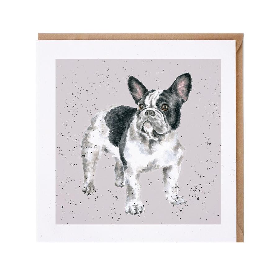Wrendale Doppelkarte mit Umschlag Motiv französiche Bulldogge, 15x15 cm