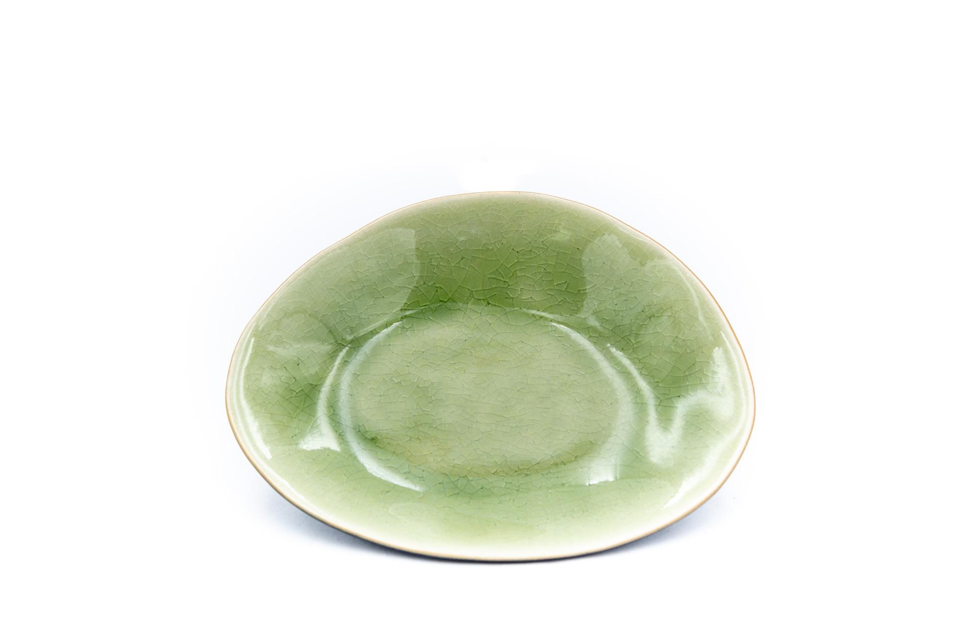 Brotteller, Riviera, grün, oval, 16 cm