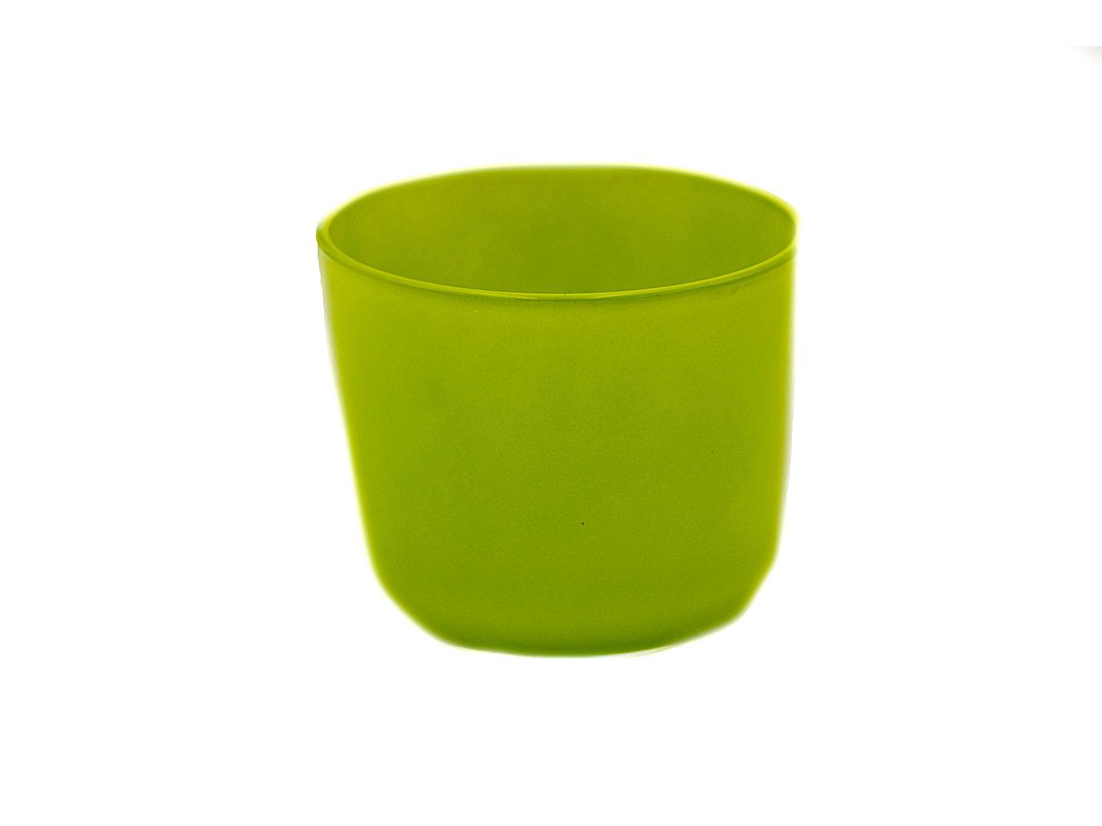 Blumentopf Davinci, Glas grün, 11cm hoch 12,5 cm breit