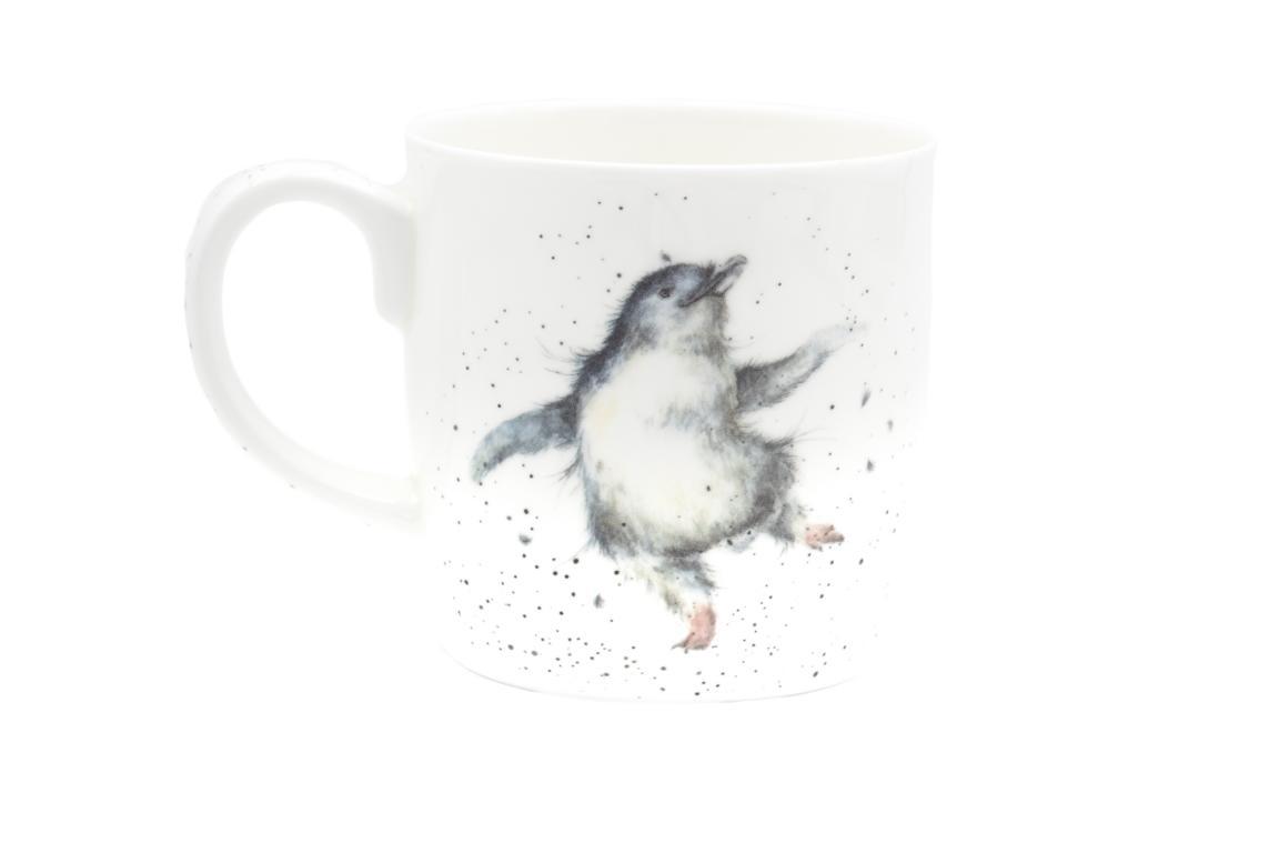"""Wrendale Becher weiß, Schriftzug innen """"Congratulations"""", Motiv kleiner Pinguin 0,4 l"""