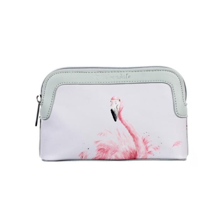 Wrendale kleine Kulturtasche mit Reißverschluss, Motiv Flamingo, mintgrün, 20x13x5 cm