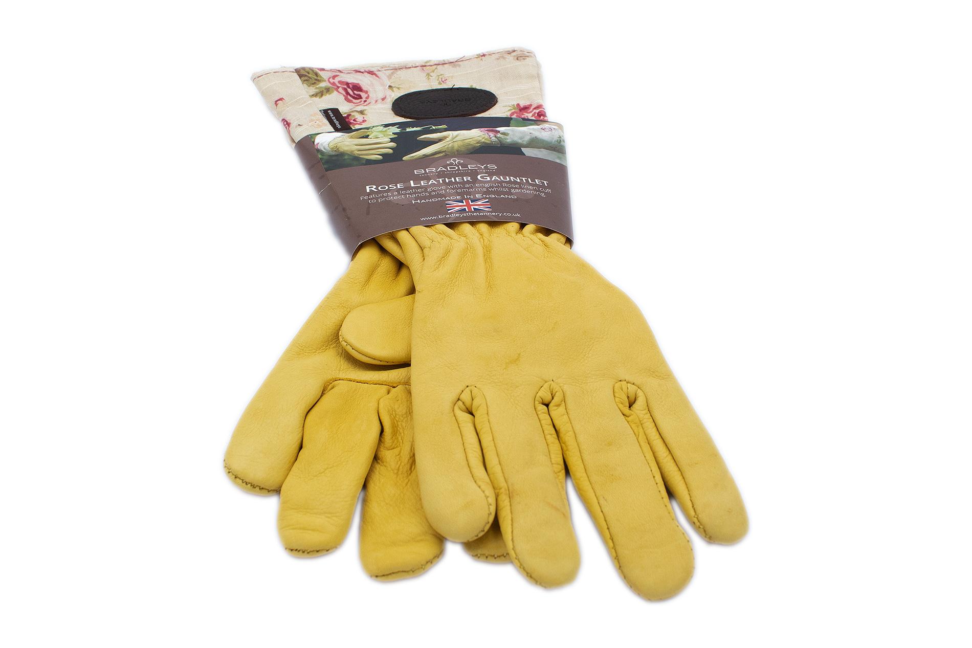BRADLEYS Gartenhandschuhe lang, Leinen Rose beige, Gr. L (Hand Leder ocker)
