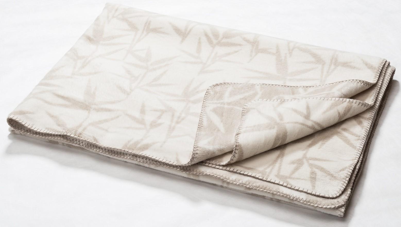 DAVID FUSSENEGGER Decke Bamboo Bambusblätter rohweiß 150x200 cm