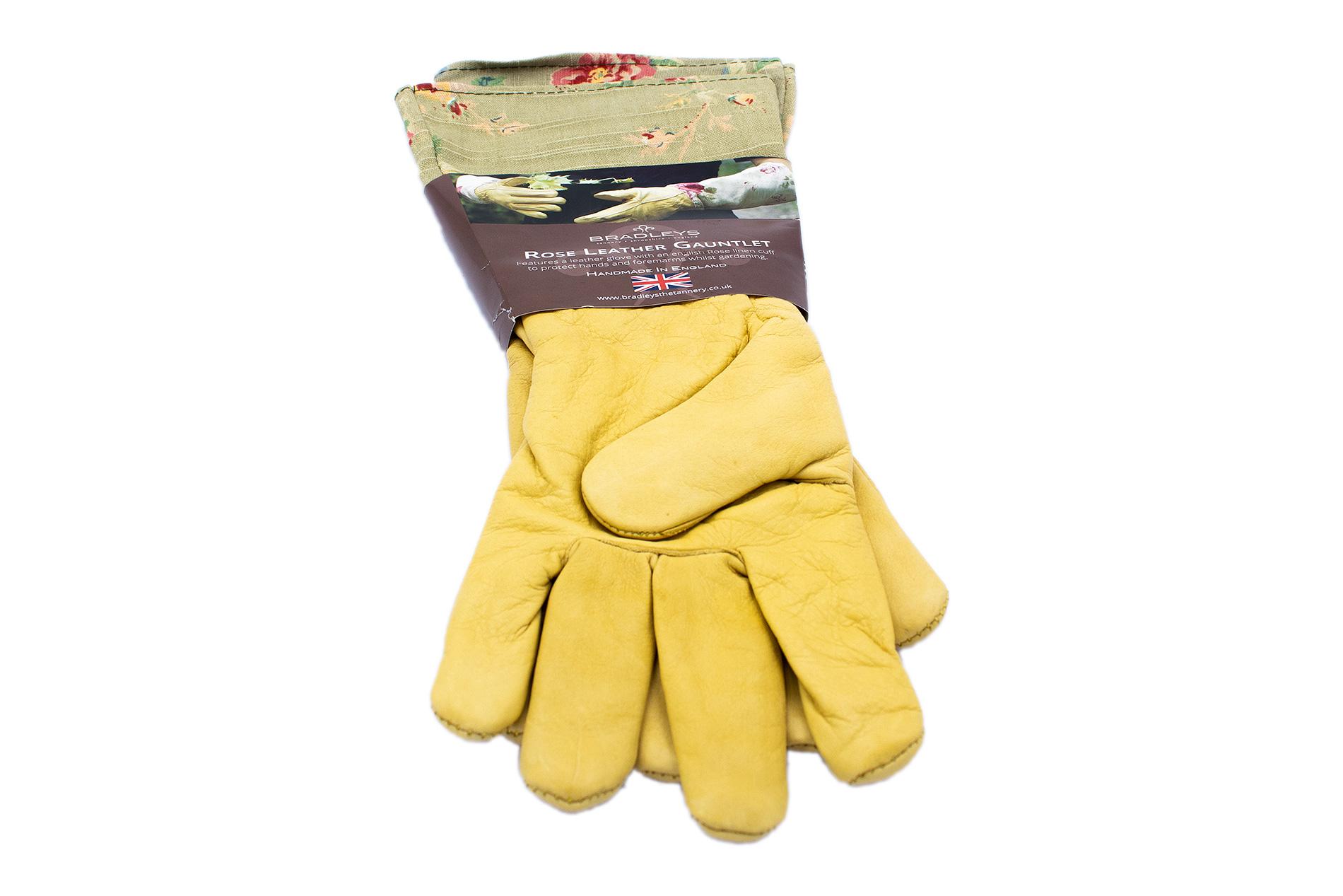 BRADLEYS Gartenhandschuhe lang, Leinen Rose grün, Gr. L (Hand Leder ocker)