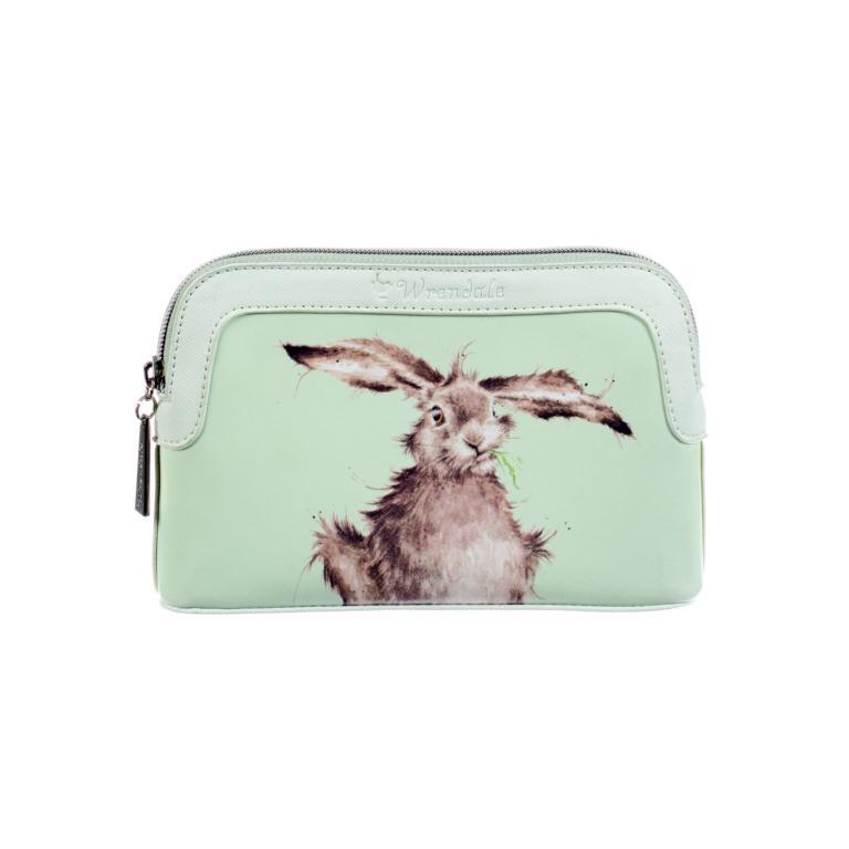 Wrendale kleine Kulturtasche mit Reißverschluss, Motiv Hase kaut auf Grashalm, mintgrün, 20x13x5 cm