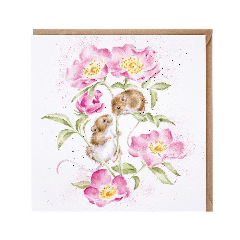 "Wrendale Doppelkarte mit Umschlag, Motiv zwei Mäuse in Pfingstrose , ""Little wisperer"", 15x15cm"