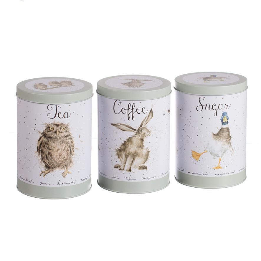Wrendale Vorratsdosen für Tee, Kaffee & Zucker, rund, 3 er Set, Motiv Ente/Hase/Eule, DM 10 cm
