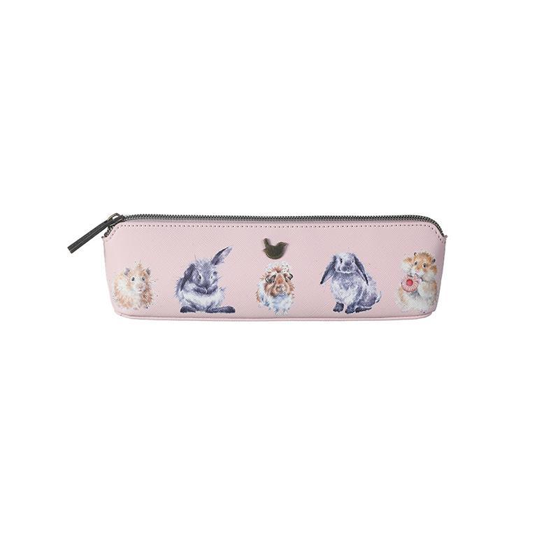 """Wrendale Make-up Pinsel/StifteTasche, Motiv Hamster/Hase/Meerschweinchen """"Guinea Pig"""", rosa, 20,5x5x6 cm"""