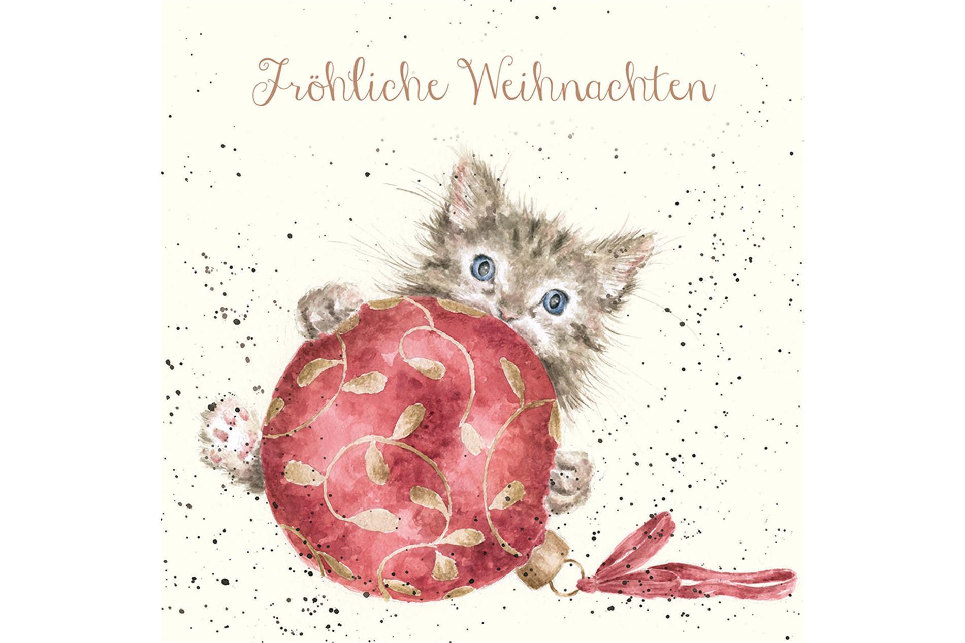 """Wrendale Doppelkarte Weihnachten mit Umschlag, Fröhliche Weihnachten,  Motiv Katze """"Chritmas Baubles"""" ,15x15 cm"""