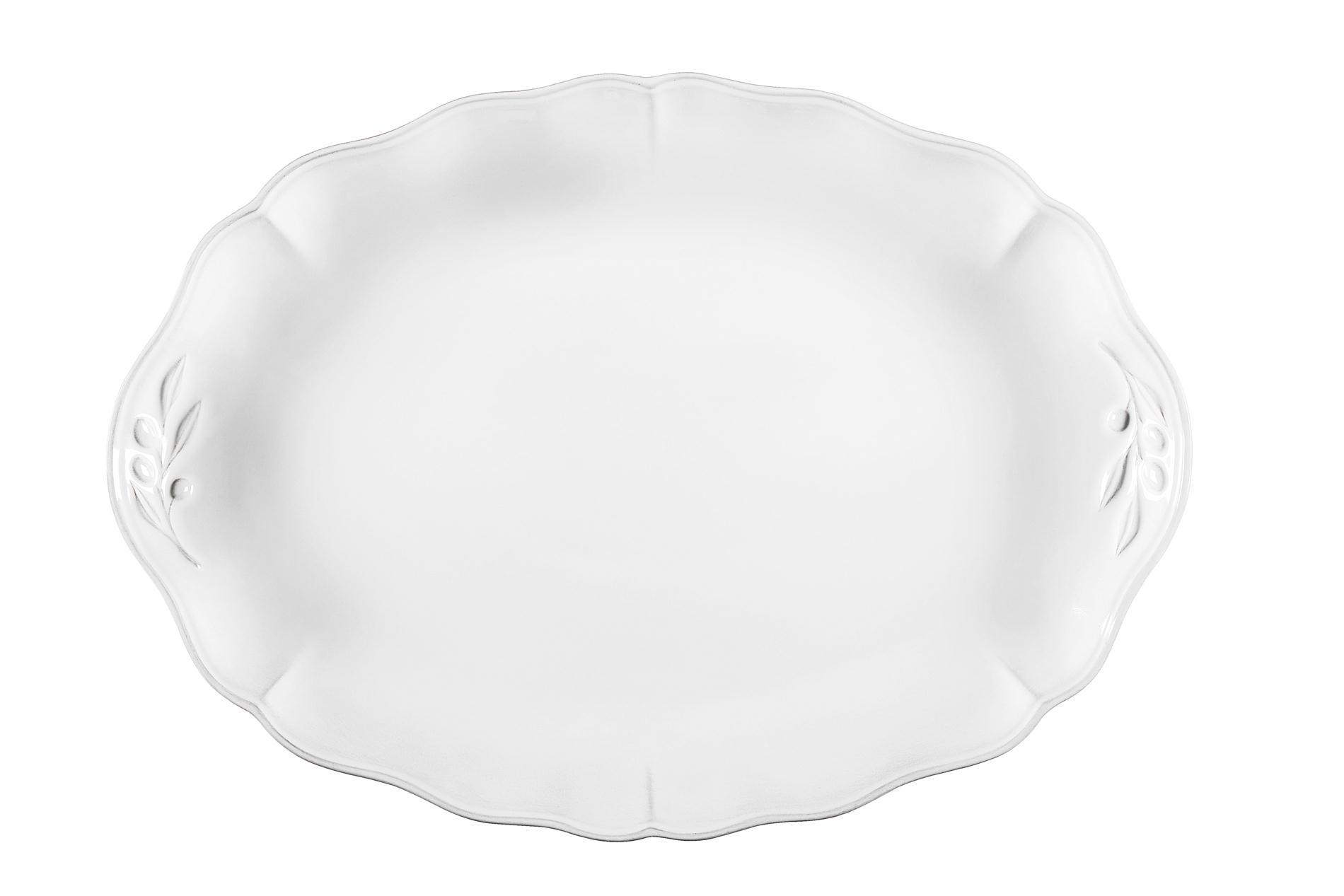 Ovale Platte Alentejo weiß, 40 cm