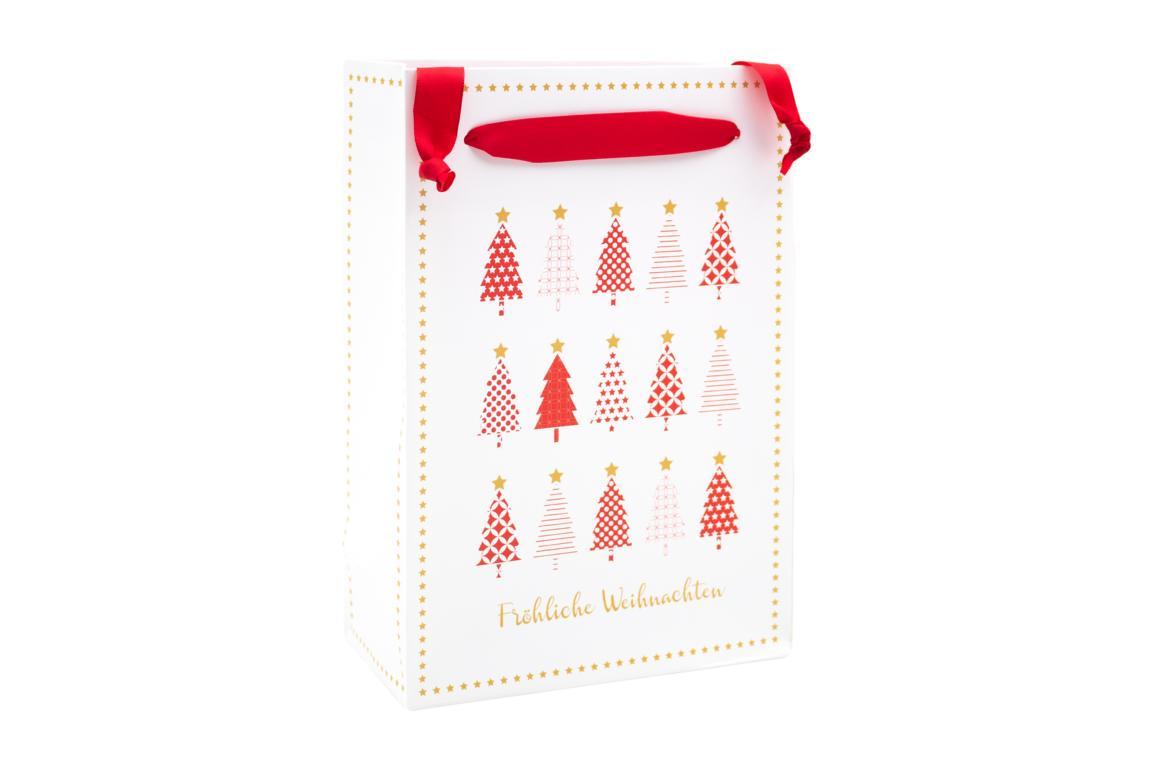 Geschenktüte Weihnachten, weiß mit roten Weihnachtsbäumen H 20x B 16 cm