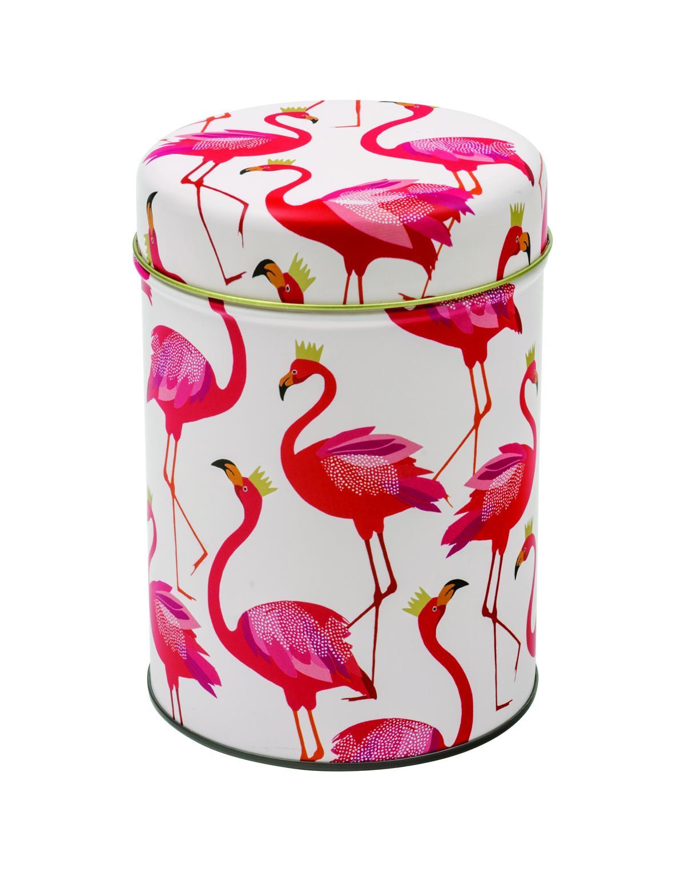 SARA MILLER Vorratsdose rund DM 10 cm Höhe 15 cm, Weiß , Flamingos